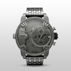 DIESEL LITTLE DADDY CHRONOGRAPH DUAL TIME MEN'S WATCH Silver